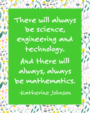 STEM Printable Poster Quote by Katherine Johnson, NASA Mat