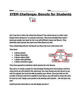 STEM Ratios and Percents Donut Challenge