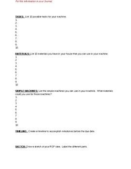 STEM - Rube Goldberg Project Planning/Brainstorming