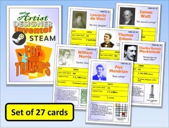 STEM STEAM Artists Designers & Inventors Top Trumps Card Game set of 27 PUB