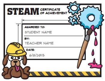 Stem steam award certificates by science demo guy tpt for Stem certificate template