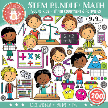STEM Clip Art Bundle: Young Kids & Math