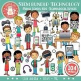 STEM/STEAM Clip Art Bundle: Middle School / Teen Kids & Technology