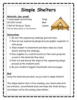 STEM, STEAM, Engineering Challenge SIMPLE SHELTERS