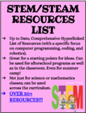 STEM/STEAM List of 50+ Resources to use in the classroom or afterschool/camp