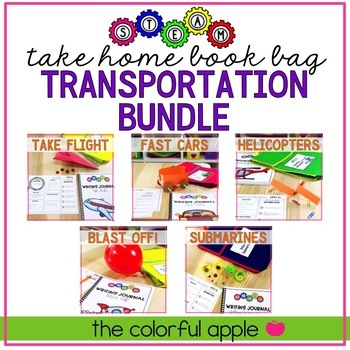 STEM & STEAM Take Home Book Bags: Transportation Bundle