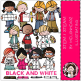 STEM STEAM clip art - kidlettes - BLACK AND WHITE- by Melonheadz