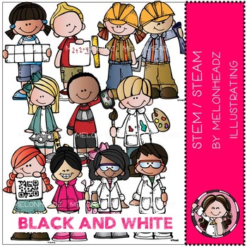 STEM STEAM kidlettes by Melonheadz BLACK AND WHITE