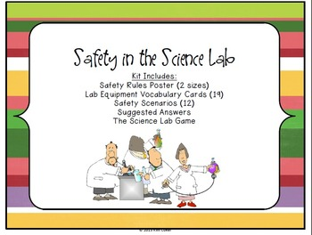 STEM Science Lab Safety and Equipment - Scenarios, Posters, Vocab Cards, Game