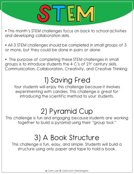 STEM - September Collaborative Learning (Back to School) Themed Challenges