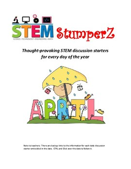 STEM daily discussion starters, journal prompts, and fillers - April