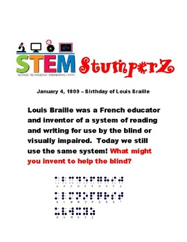 STEM StumperZ - discussion starters, journal prompts, and fillers - January