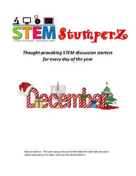STEM daily discussion starters, journal prompts, and fillers - December