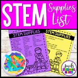 STEM Supplies List FREE
