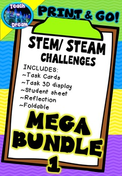 STEM Task Cards, STEAM Activities - MEGA BUNDLE! No Prep!