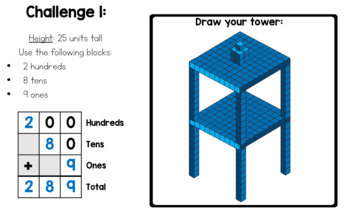 STEM Tower Block Building Challenges (Number Sense, Adding, and Place Value Fun)
