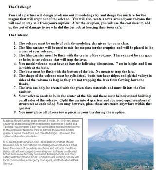 STEM Volcano Hazard Design Project- Engineering