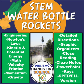 STEM Bottle Rockets Lab PowerPoint Graphic Organizers Close Reading Cloze Notes