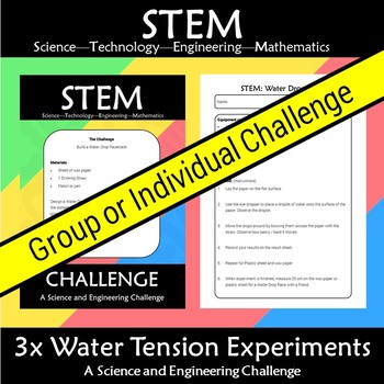 STEM 3x Water Tension Experiment Challenge Bundle