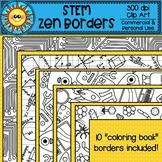 STEM Zen Coloring Borders Clip Art