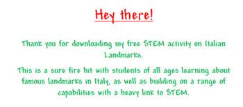 STEM activity on Italian Landmarks