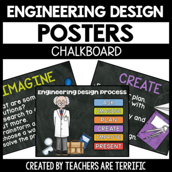 STEM and Engineering Design Process Posters Chalkboard Version