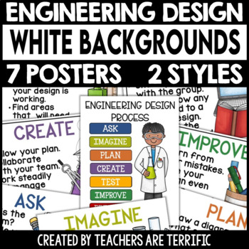 STEM and Engineering Design Process Posters featuring Whit