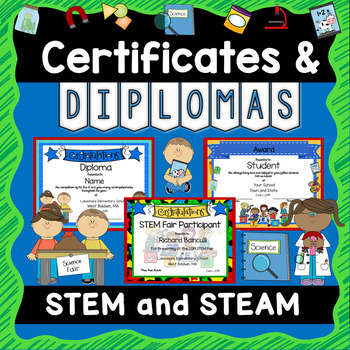 STEM and STEAM Awards Certificates and Diplomas - EDITABLE