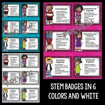 STEM and Science Job Badges and Posters in Big Bold Colors