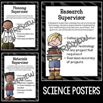 STEM and Science Job Badges and Posters in Burlap and Chalkboard