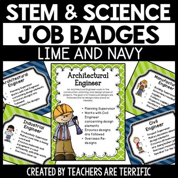 STEM and Science Job Badges and Posters in Lime and Navy