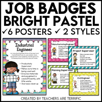 STEM and Science Job Badges and Posters in Pastel Bright Colors