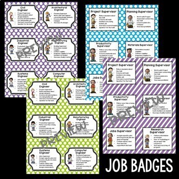 STEM and Science Job Badges and Posters in Purple, Lime, and Turquoise