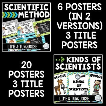 STEM and Science Posters Bundle in Lime and Turquoise