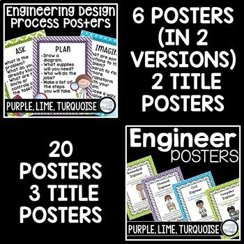 STEM and Science Posters Bundle in Purple, Lime, and Turquoise