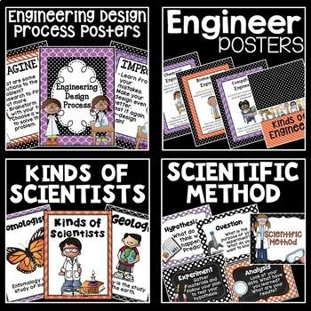 STEM and Science Posters Bundle in Orange, Black, and Purple