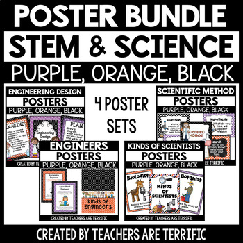 STEM and Science Posters Bundle~ Purple, Orange, and Black