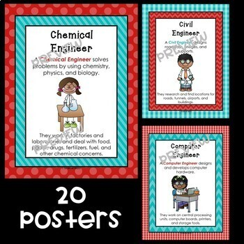 STEM and Science Posters Bundle in Red and Teal
