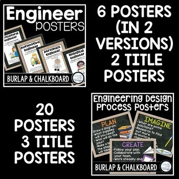 STEM and Science Posters Bundle in Burlap and Chalkboard