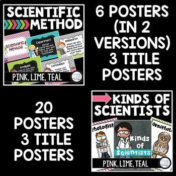STEM and Science Posters Bundle in Pink, Lime, and Teal