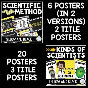 STEM and Science Posters Bundle in Yellow and Black