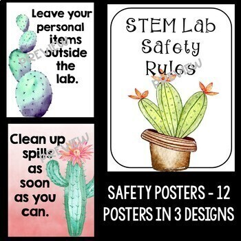 STEM and Science Posters Bundle in a Cactus Theme
