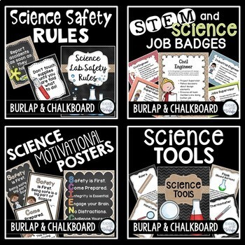 STEM and Science Ultimate Poster Bundle in Burlap and Chalkboard