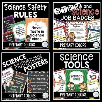 STEM and Science Ultimate Poster Bundle in Primary Colors