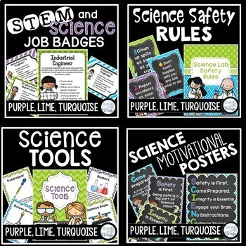 STEM and Science Ultimate Poster Bundle in Purple, Lime, and Turquoise