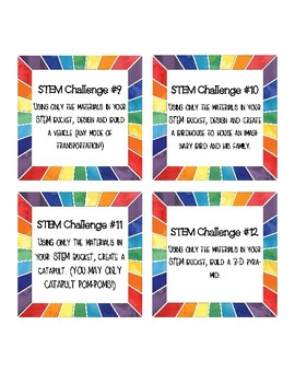 STEM bucket challenge cards