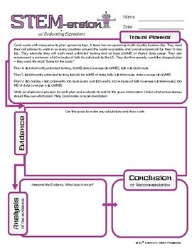 STEMersion -- Evaluating Expressions -- Travel Planner