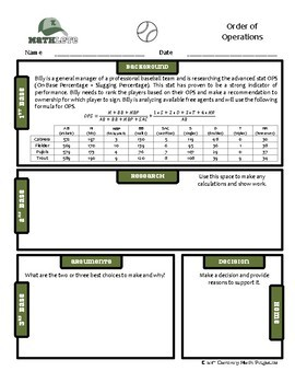 Mathlete - Order of Operations - Baseball - OPS