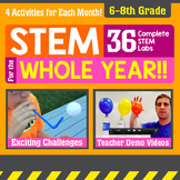 STEM for the Whole Year! 36 Activities {6-8th Grade} Distance Learning - Bundle