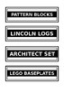 STEM labels for toys/equipment
